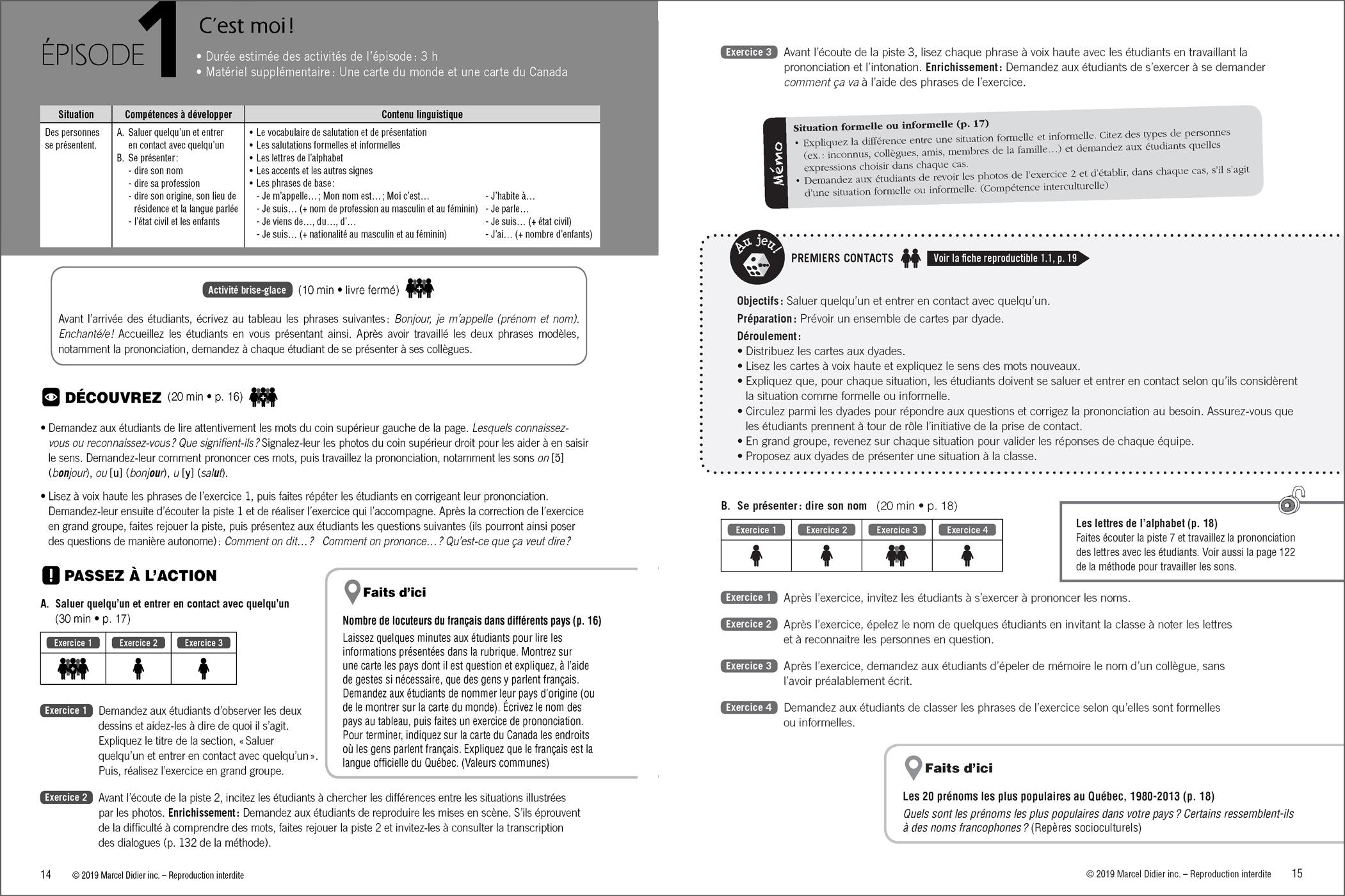 PAR ICI – Teacher's guidebook A1 / 1-2